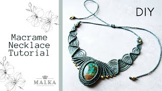 DIY Macrame Stone Necklace 🖤 Simple Macrame Necklace Tutorial 🖤 DIY Macrame Jewelry By Malkamacrame