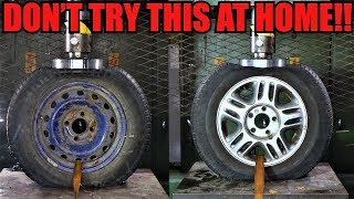 STEEL Vs. ALLOY WHEELS Which One Is Stronger? Hydraulic Press Test!