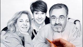 Семейный портрет - реалистичный рисунок карандашом за 4 минуты; )