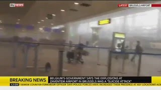 FOOTAGE OF BRUSSELS AIRPORT SECONDS AFTER EXPLOSION MADE BY TERRORISTS