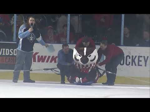 [MIL] Bucky Badger does the Human Hockey Puck