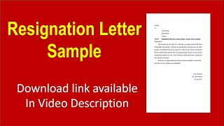 How to write Resignation Letter in Ms Word | letter Example