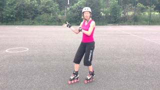 How to stop on skates using a Lunge Stop tutorial on rollerblades or quads for Roller Derby.