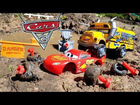 Disney Cars 3 Toys Miss Fritter & Jackson Storm Destroy Lightning Mcqueen in Dream
