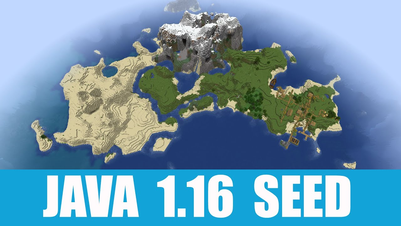 Java 1.16 Seed: Island with three biomes, village, shipwreck and exposed mineshaft MINECRAFT SEED -5662390514659851700