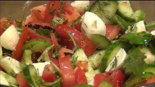 Легкий овощной салат с моцареллой. Готовим вместе