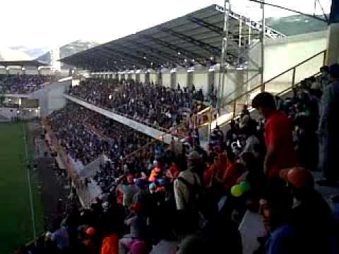 """""""Sport Ancash VS hijos Acosvinchos Inauguración de estadio rosas pampa de Huaraz"""" Barra: Amenaza Verde • Club: Sport Áncash"""