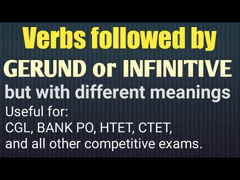 Non finite | Infinitive | Gerund | Verbs with either gerund d infinitive with different meaning
