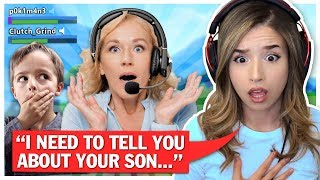 I made this Kid put his Mom on the Mic in Fortnite.. Pokimane Random Duos!