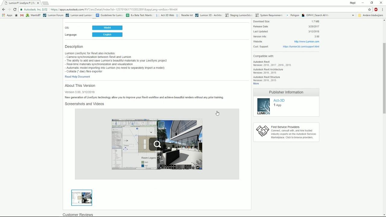インポート:LiveSync Revitのプラグインインストール(Lumion8 series)