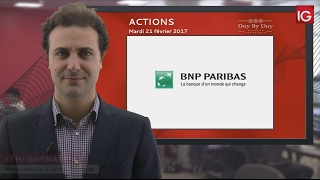 BNP PARIBAS ACT.A - Bourse - Action BNP Paribas, important gap baissier - IG 21.02.2017