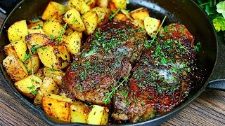 Skillet Garlic Butter Herb Steak and Potatoes Recipe - Easy Steak and Potatoes