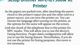 Setup Brother MFC-l2750dw XL Printer
