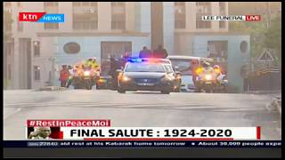 Convoy carrying the body of mzee Moi leaves Lee funeral home for Wilson airport ahead of his burial
