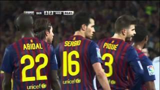 Barcelona vs Real Madrid soccer fight marcelo fouls fabregas/mourinho pulls ear 3-2 August 17, 2011