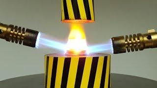 EXPERIMENT MINI HYDRAULIC PRESS 100 TON vs Glowing 1000 Degree COINS