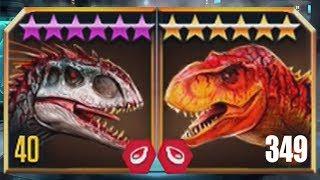 INDOMINUS REX Vs TYRANNOSAURUS REX LEVEL 349 - Jurassic World The Game