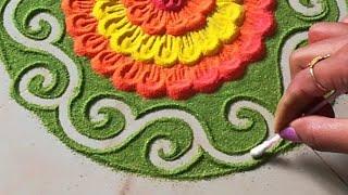 Very easy rangoli design जो आप भी बना लेंगे    Beautiful muggulu designs by using fevigum bottle   