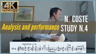 Napoleon Coste, study n. 4 op. 38. Analysis and Performance.