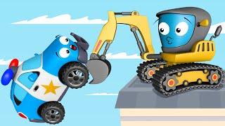 Coches infantiles - Carritos para niños - Excavadora y bolas multicolores - Dibujos animados