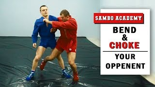 Defending the hip throw. How to bend your opponent and strangle him.