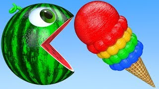 Learn Colors with PACMAN and Farm WaterMelon IceCream SuperHero Street Vehicle for Kid