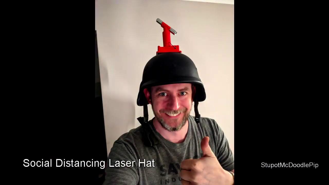 Social Distancing mit einem Laser-Helm