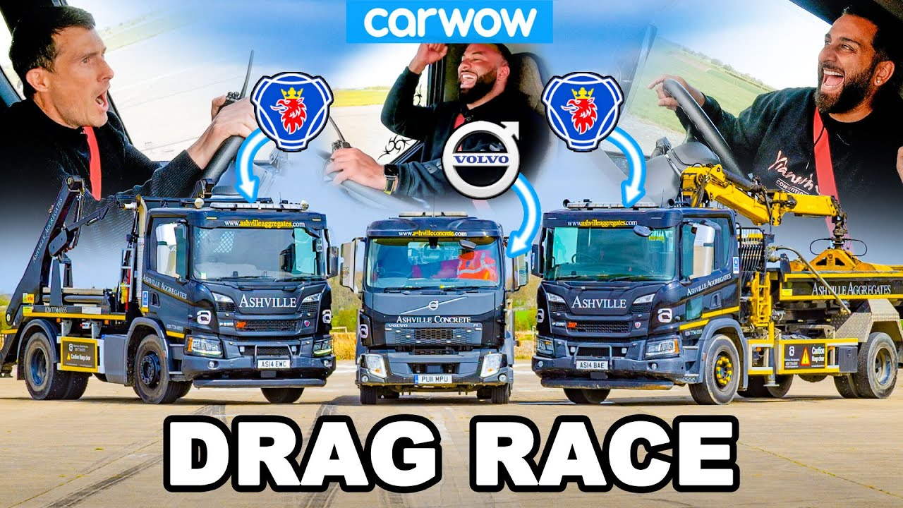 Drag race: Scania grab and skip lorries vs Volvo with concrete pump