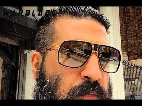 18K позолоченные квадратные мужские солнцезащитные очки WARBLADE