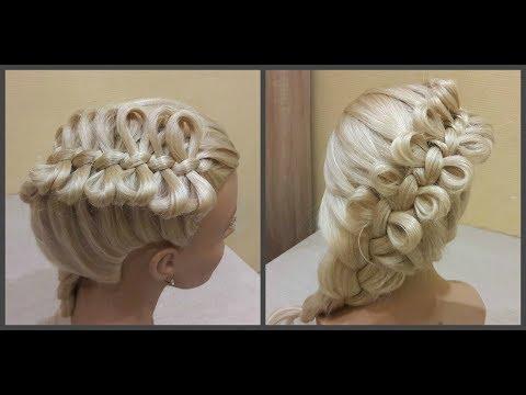 Причёска бантики из волос🎀Hairdress bows of hair🎀коса из бантиков.braid from the bows.