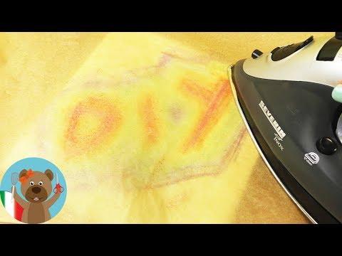 Pastelli di cera su tela + ferro da stiro | Divertimento fai da te per bambini
