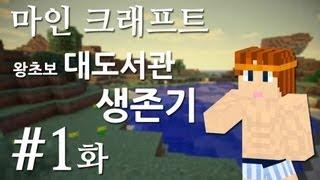 마인크래프트] 왕초보 대도서관 생존기 1화