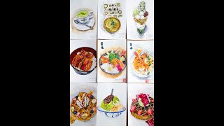 Food Illustrations Watercolor Compilation + Tools & Material