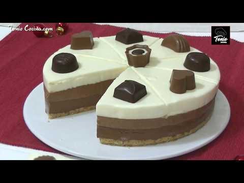 La tarta fría de Tres Chocolates más fácil - Receta de postre