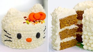 Hello Kitty Pumpkin Spice Cake With Cream Cheese Frosting | Hello Kitty Cake Recipe