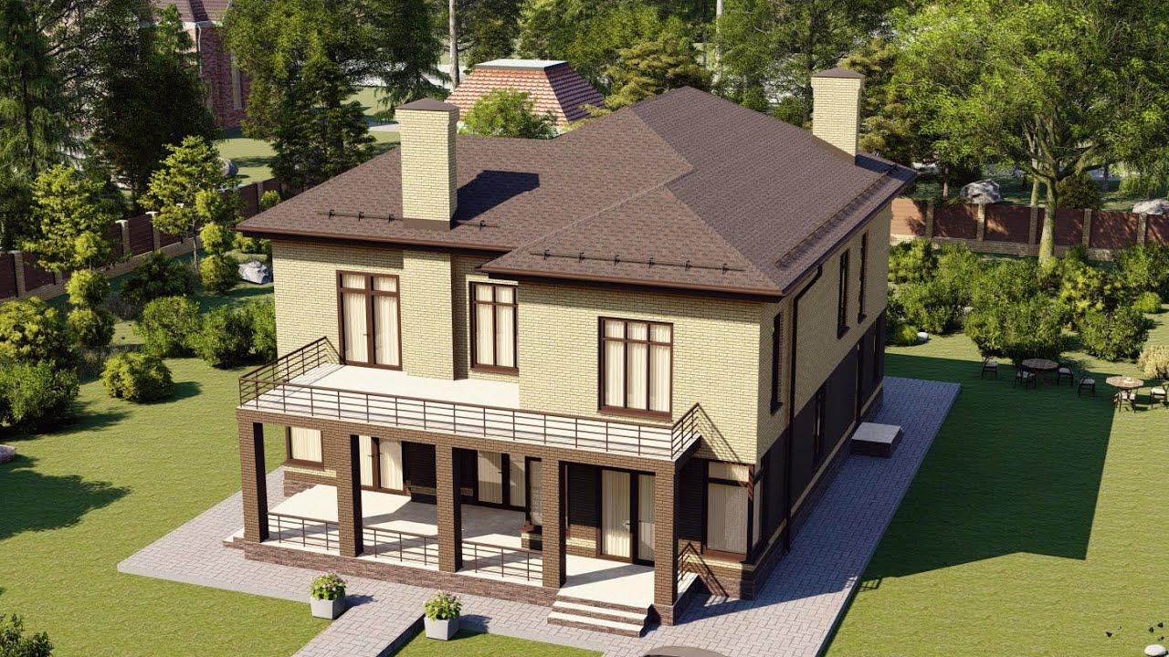 Проект современного двухэтажного дома из газоблока