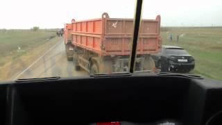Замес с Камазом на трассе Уральск-Атырау