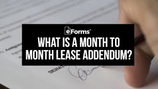 Month to Month Lease Addendum - EXPLAINED