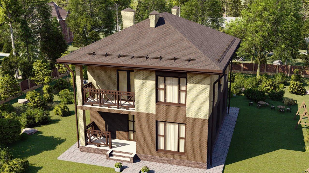 Проект современного дома из газобетона в два полных этажа 168 м2