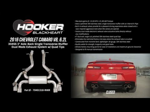 2016 Camaro V8, 6.2L Axle-Back Single Transverse Muffler Dual Mode Exhaust System with Quad Tips