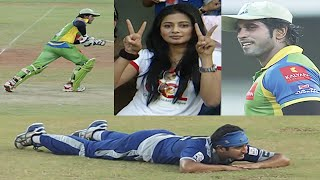 Actress Priyamani Super Excited at CCL. Clever Runs By Kerala Strikers Against Karnataka Bulldozers