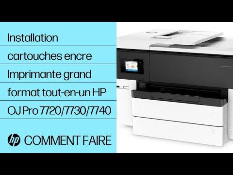 Comment installer les cartouches d'encre dans les imprimantes grand format tout-en-un HP OfficeJet Pro des gammes 7720/7730/7740.