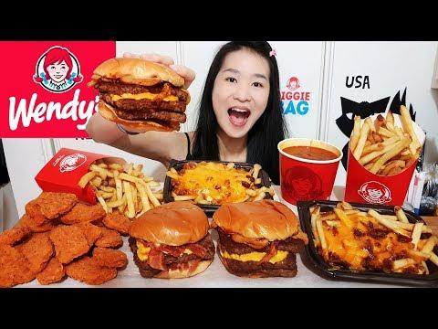 MASSIVE WENDY'S FEAST!! Spicy Chicken Nuggets, Baconator Cheeseburger, Chili Cheese Fries - Mukbang