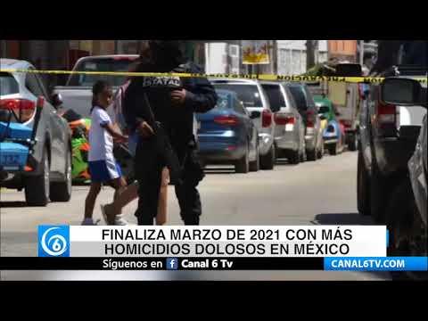 Finaliza marzo de 2021 con más homicidios dolosos en México