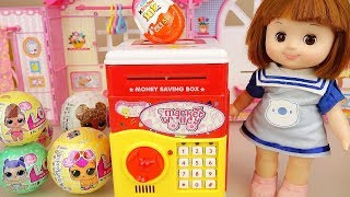 Baby doll Coin bank and surprise eggs toys play
