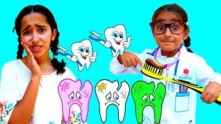 Esma and Asya pretend play with tiny dentist and cute patient fun kid video