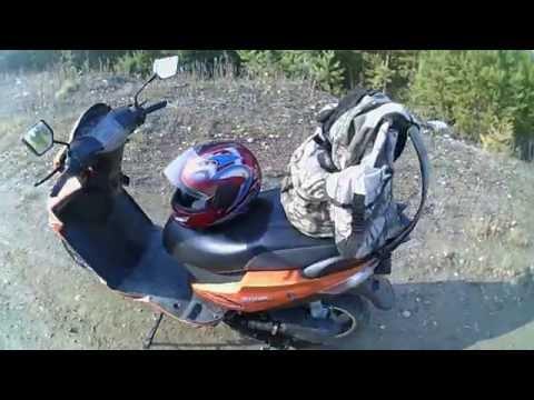 путешествие на скутере к таежной речке.
