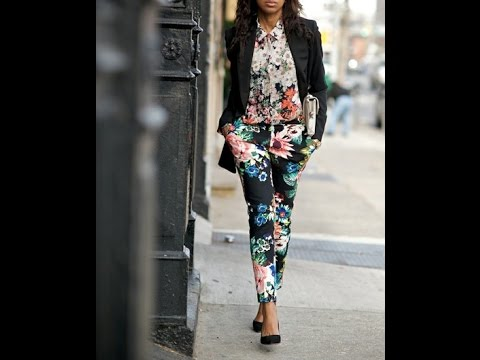 trendy outfit ideas with floral pants 2017