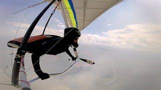 Pilot Skilfully Controls Hang Glider In Turbulence