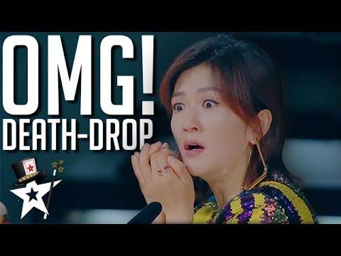Judges Scream As Escape Artist Attempts DEATH DROP Stunt! | Magicians Got Talent (видео)